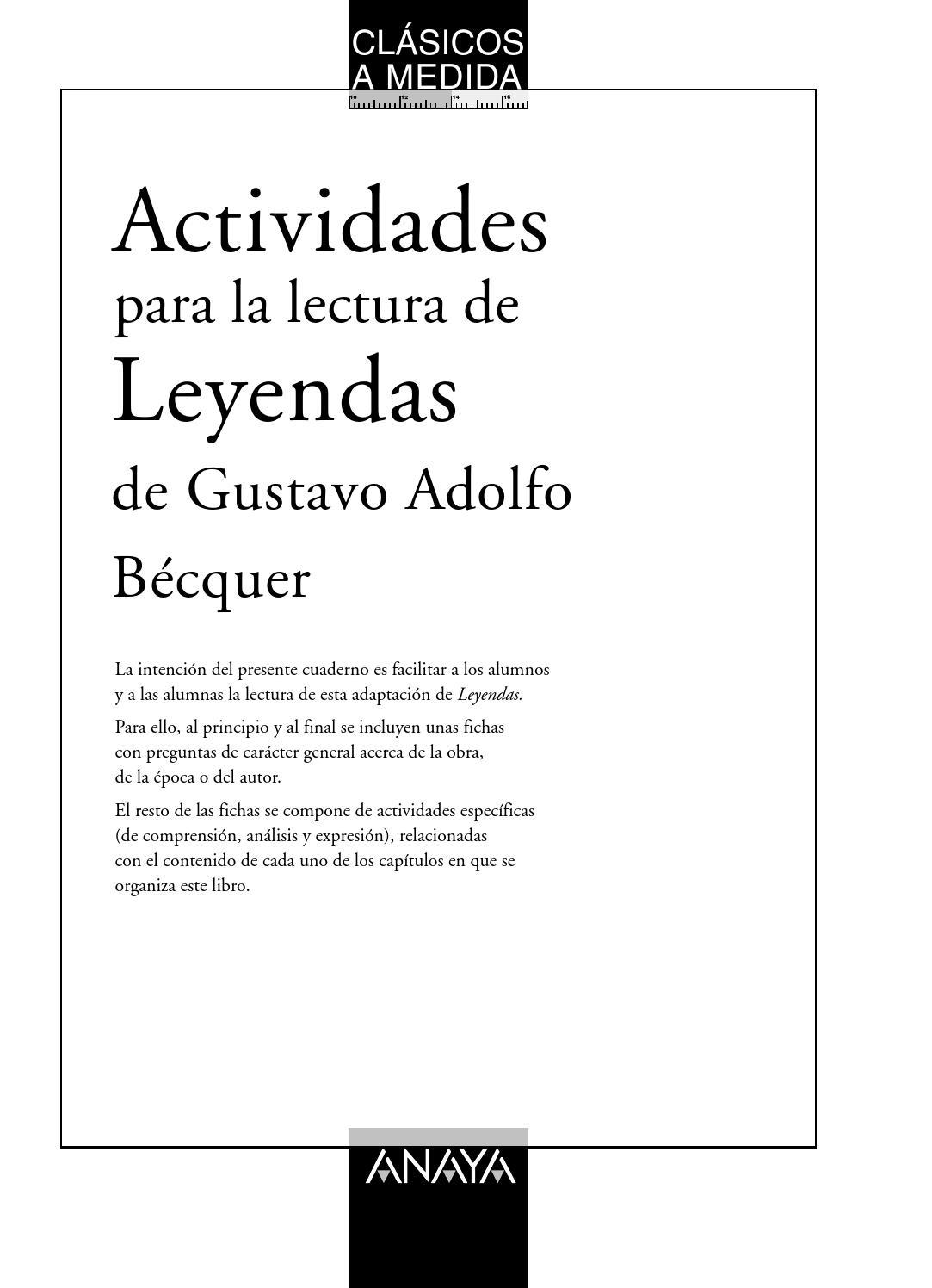 Leyendas, De Bécquer (actividades Para La Lectura, Anaya