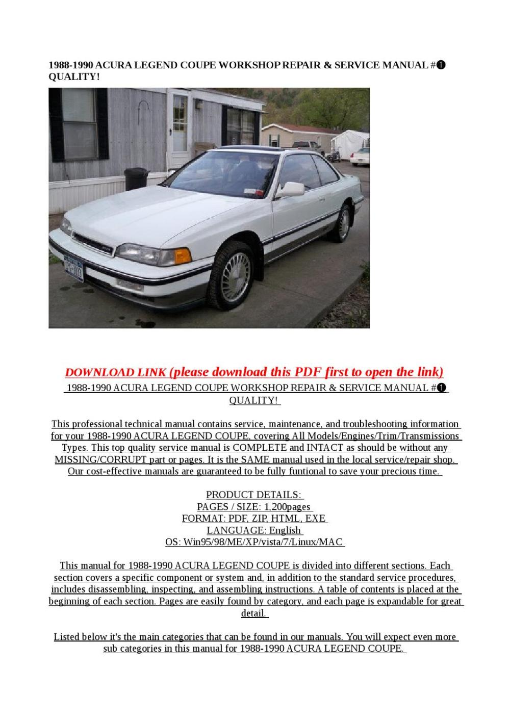 medium resolution of acura legend 1993 workshop repair manual pdf high performance vehicles 1988 6 wiring schematic you can also link continue