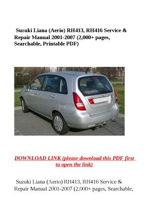 Suzuki liana (aerio) rh413, rh416 service & repair manual