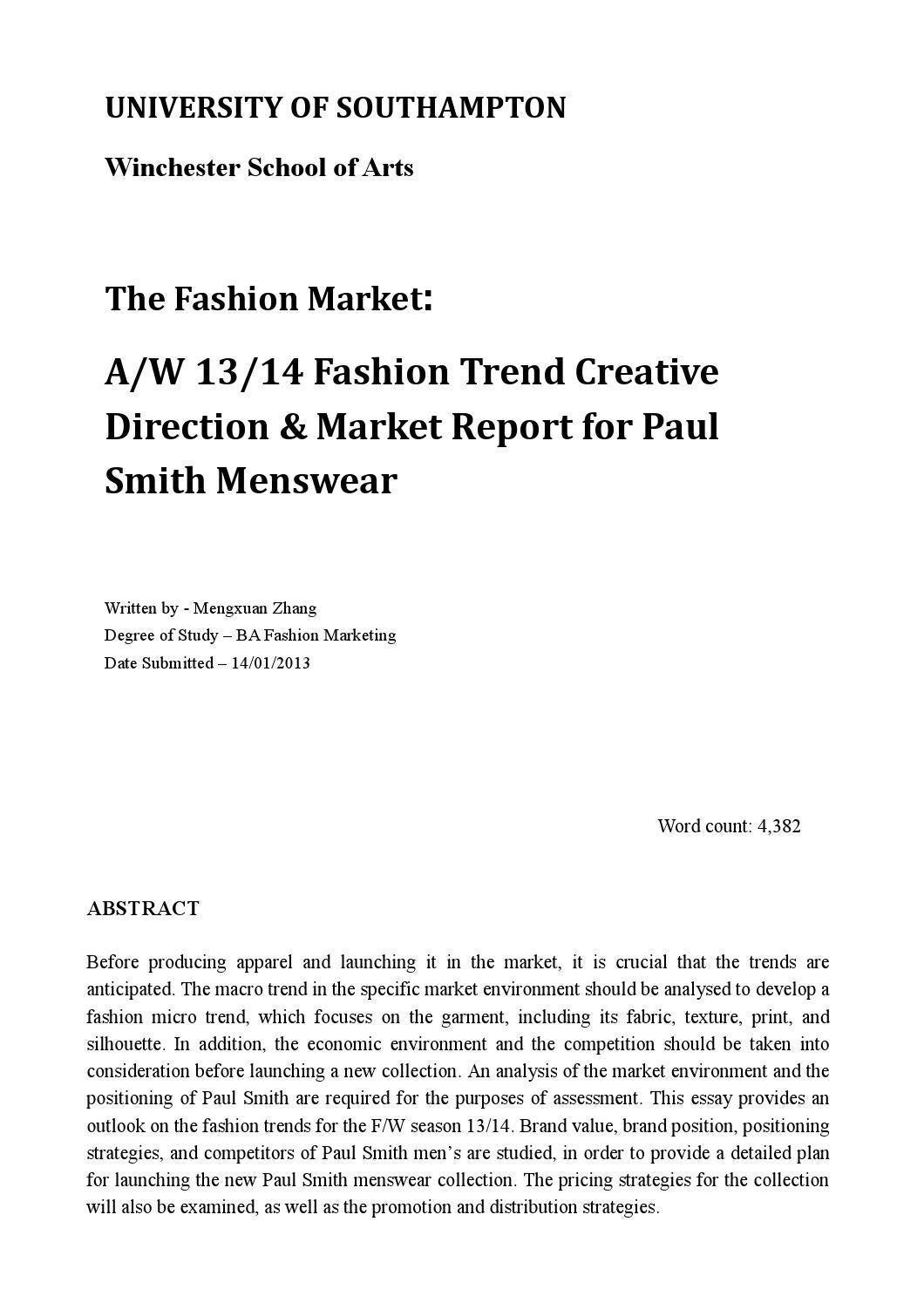 Zara Swot Analysis The Fashion Market Cos By Louisa Kimins Emily