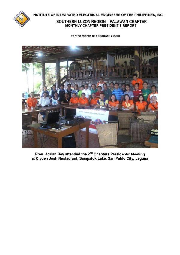 Iiee Palawan Chapter Activities Feb 2015 Institute Of