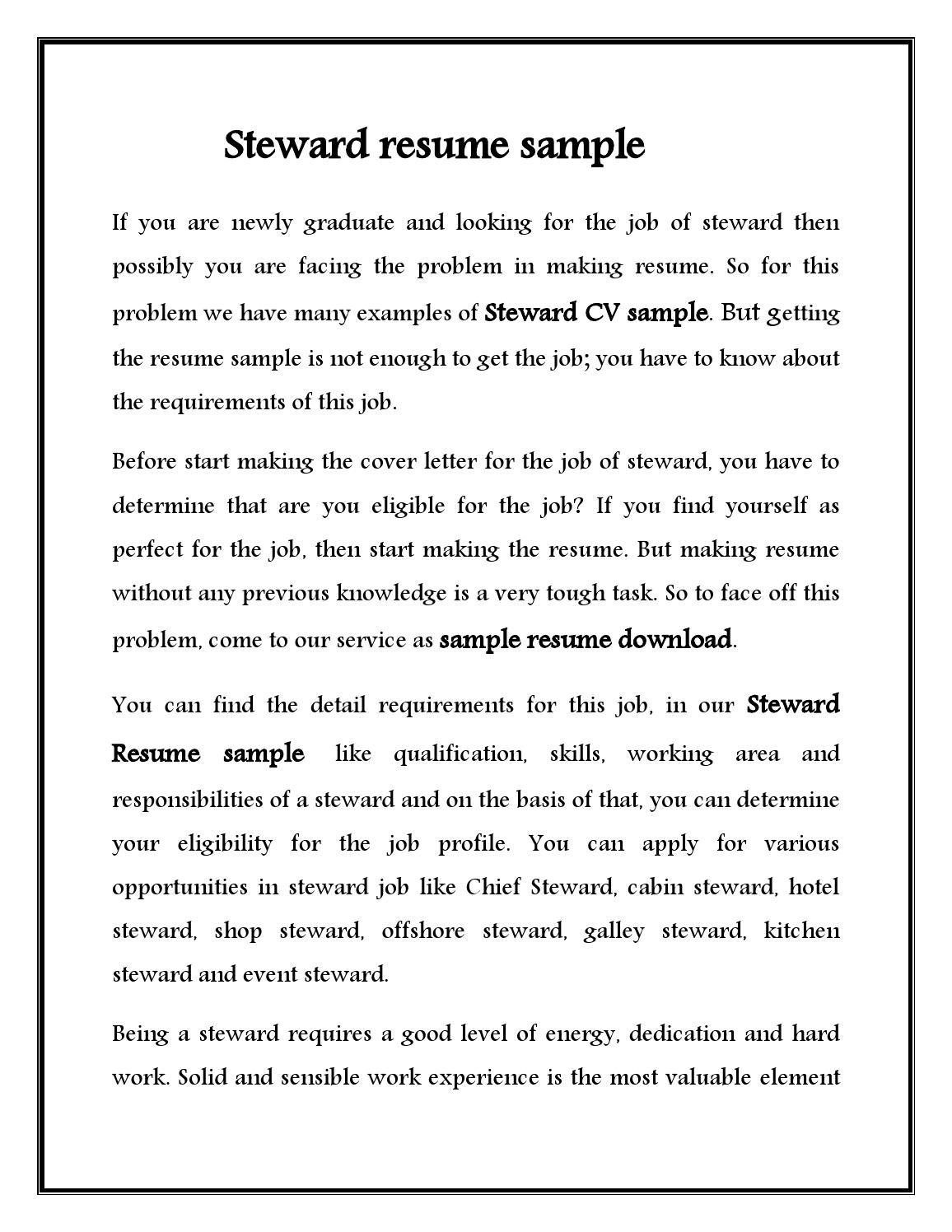 Cv For Hotel Steward   Free Resume Templates & Professional ...