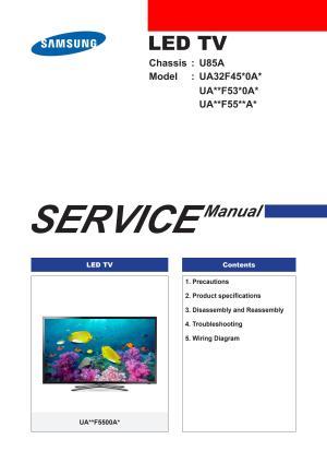 Manual de serviço tv led samsung ua32f5500 chassis u85a by