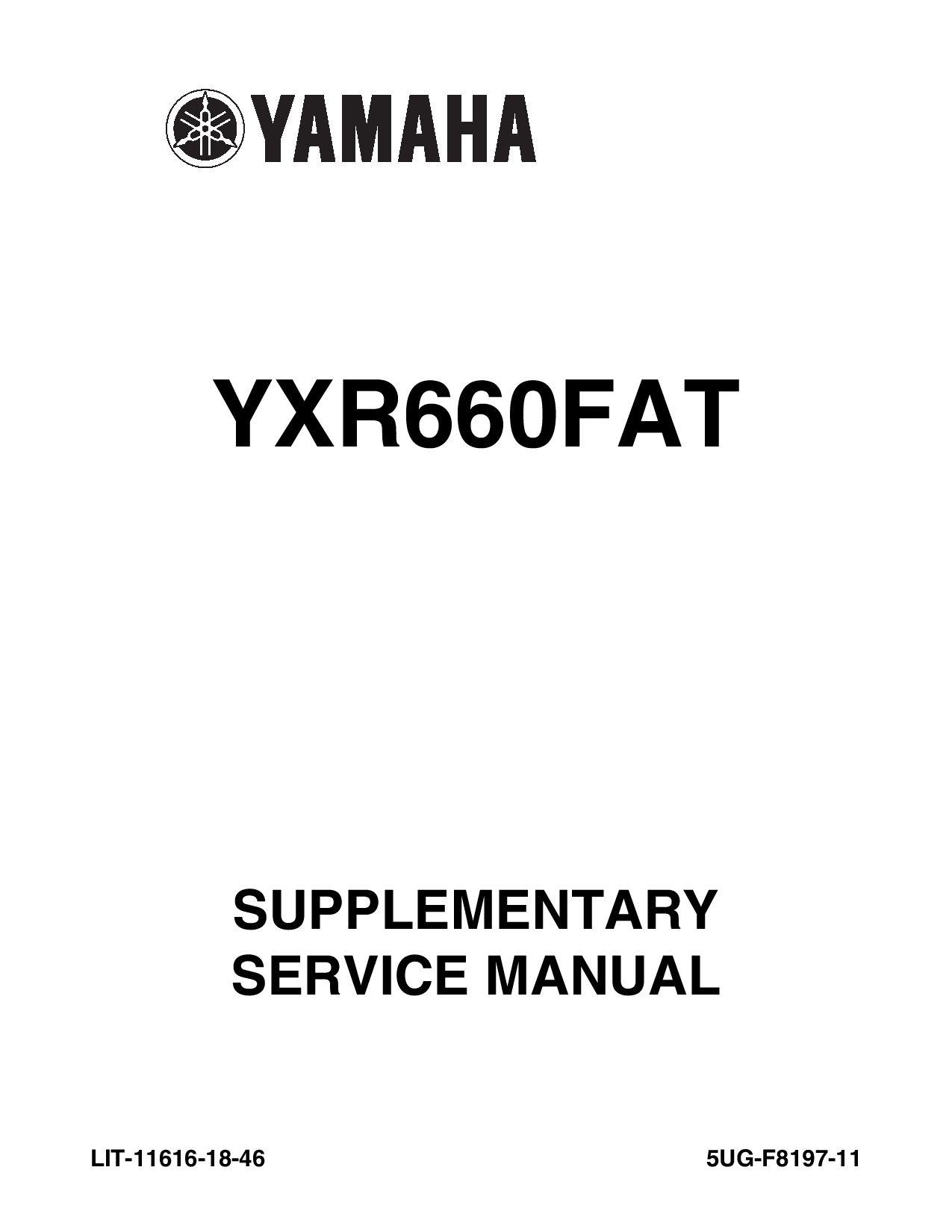 2004 Yamaha Atv Yxr660fas Lit 11616 17 23 Service Manual