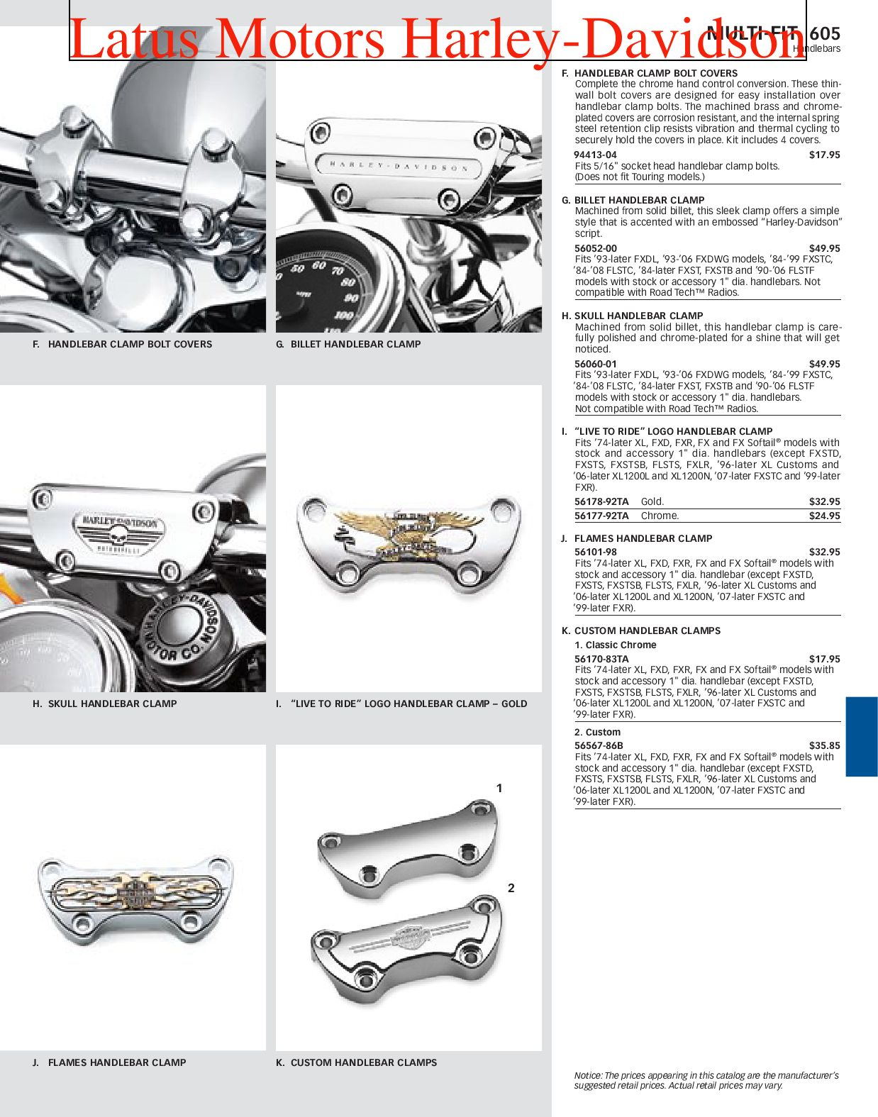 Harley-Davidson Multi Fit Parts and Accessories Catalog by