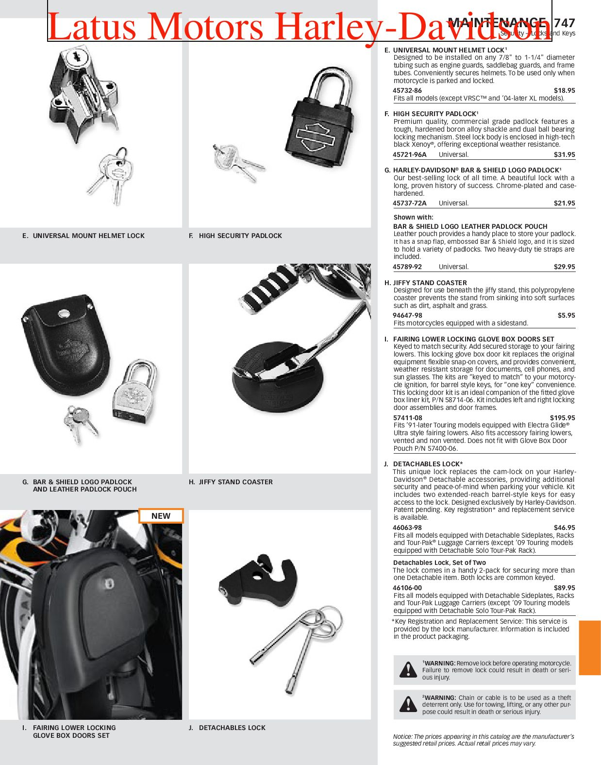 Harley-Davidson Security and Maintenance Catalog by Harley