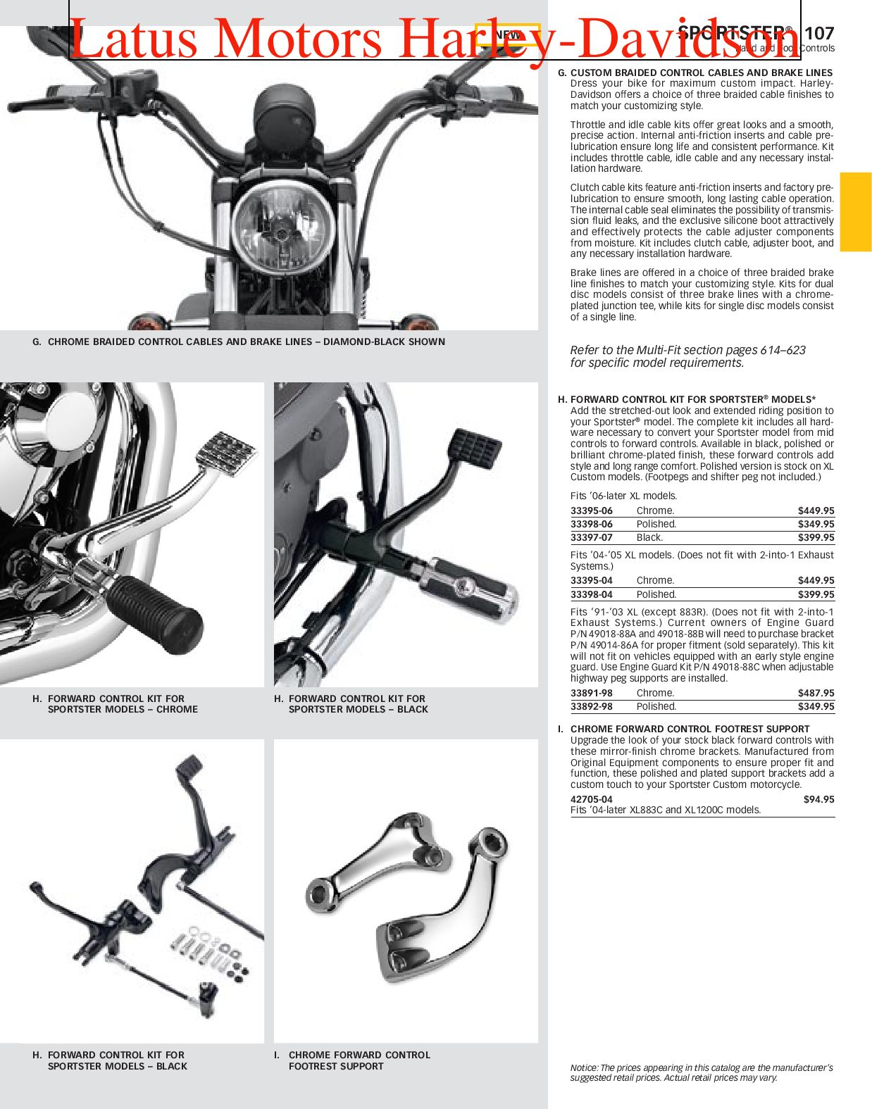 Harley-Davidson Sportster® Parts and Accessories Catalog