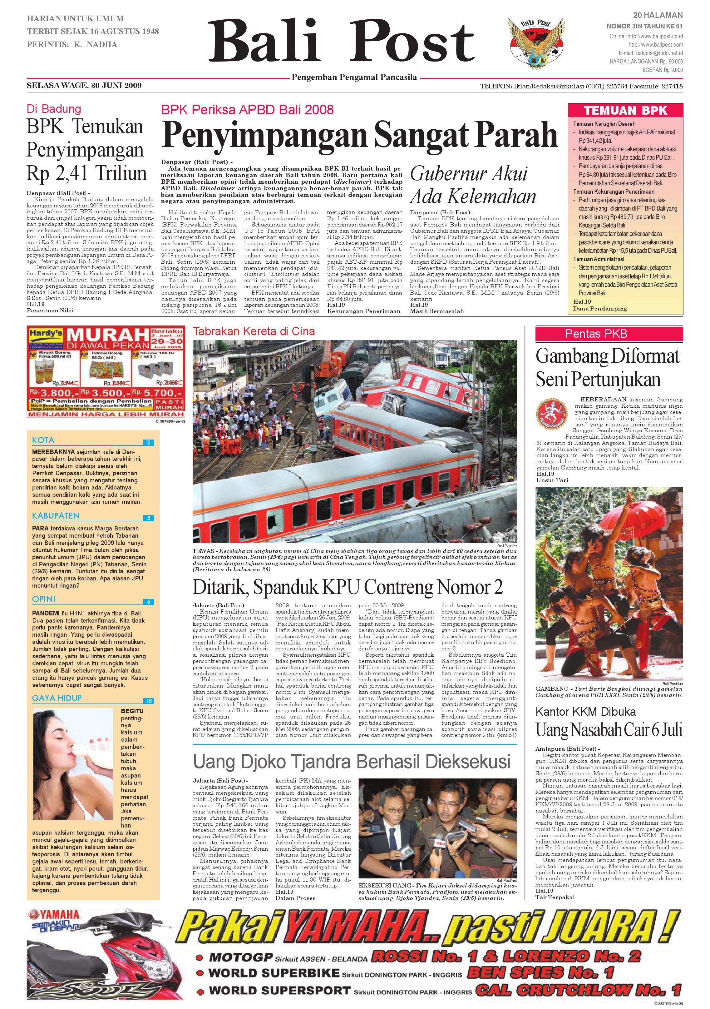 By admin selasa, 26 mei 2020 add comment edit. Bali Post Selasa 30 Juni 2009 By E Paper Kmb Issuu