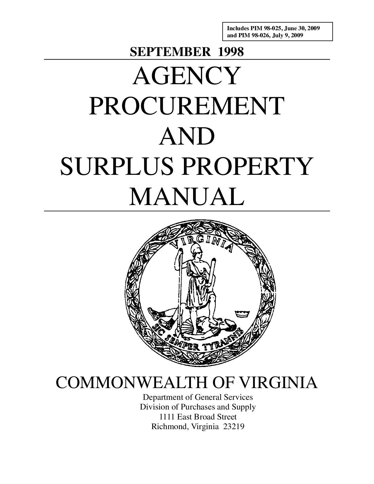 AGENCY PROCUREMENT AND SURPLUS PROPERTY MANUAL by David