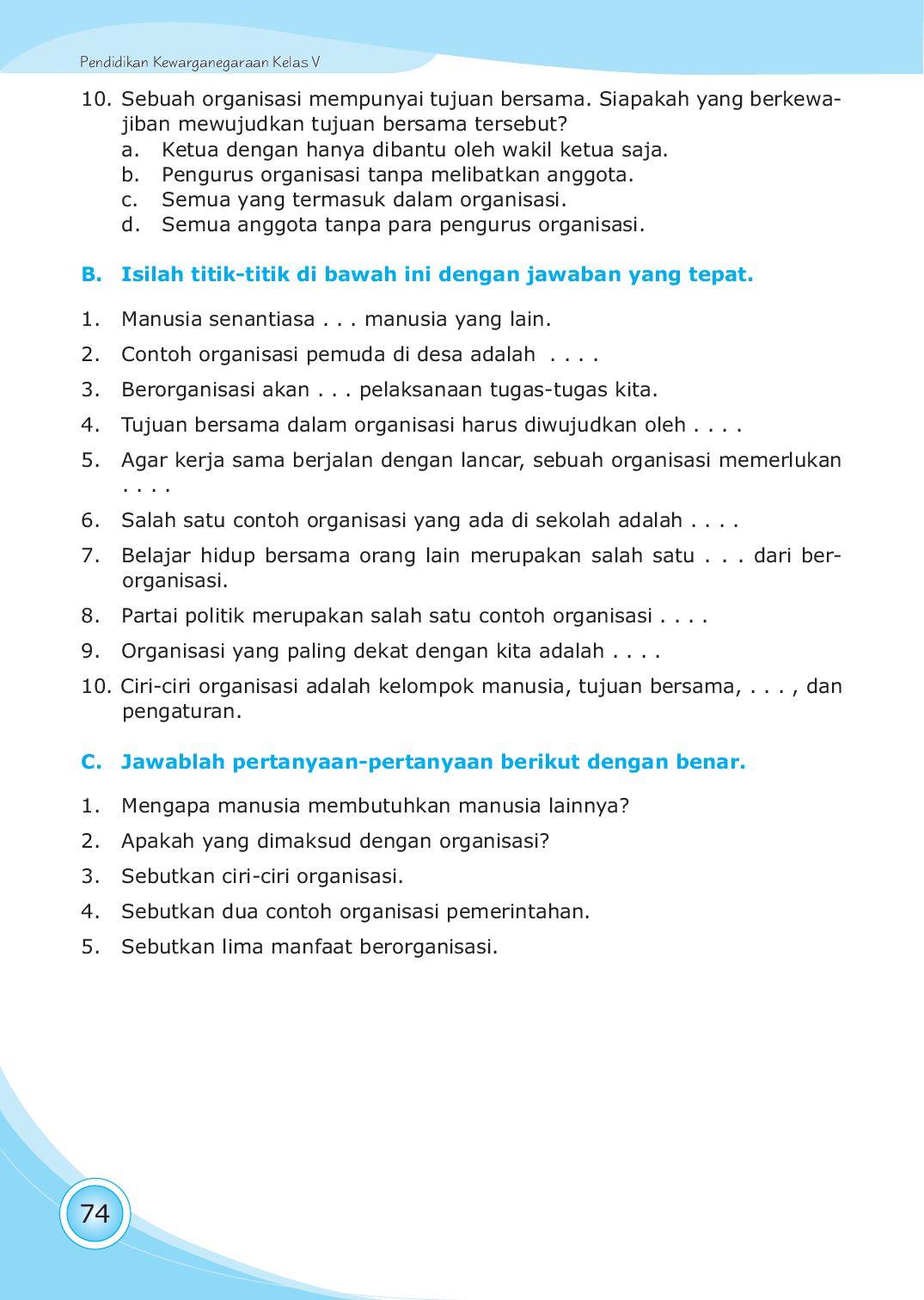 Sebutkan Ciri Ciri Organisasi : sebutkan, organisasi, Kelas05_pendidikan-kewarganegaraan_setiati-fajar, Selagan, Issuu