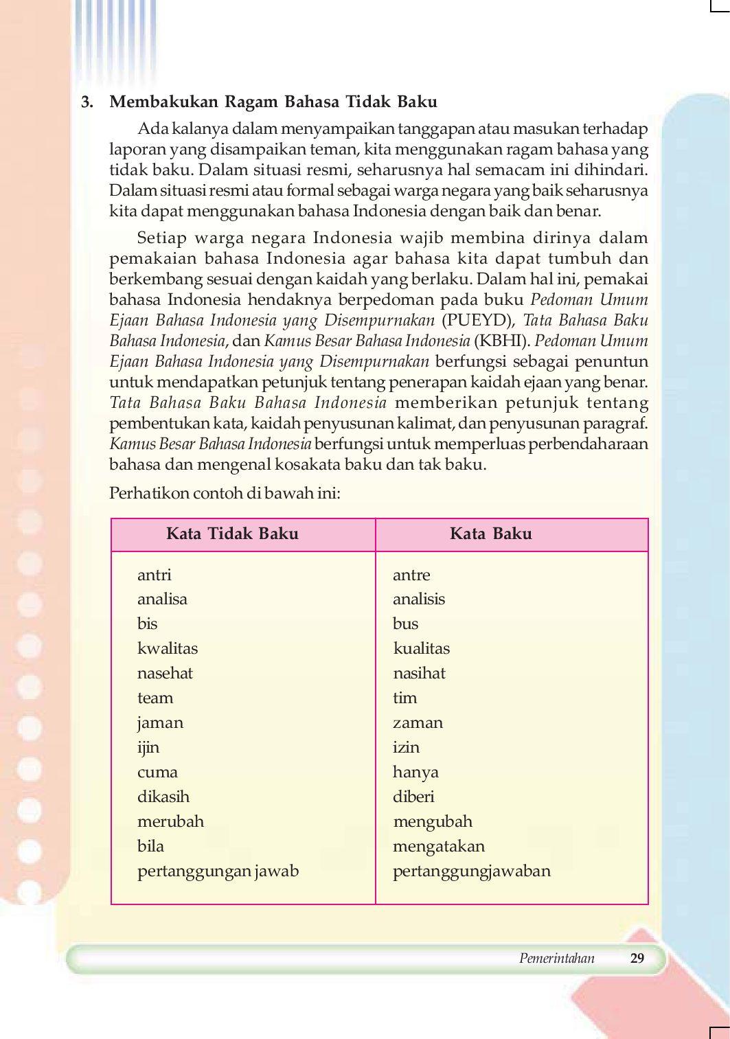 Kata Baku Nasehat : nasehat, Kelas08_bahasa-indonesia-bahasa-kebanggaanku_sarwiji, Selagan, Issuu