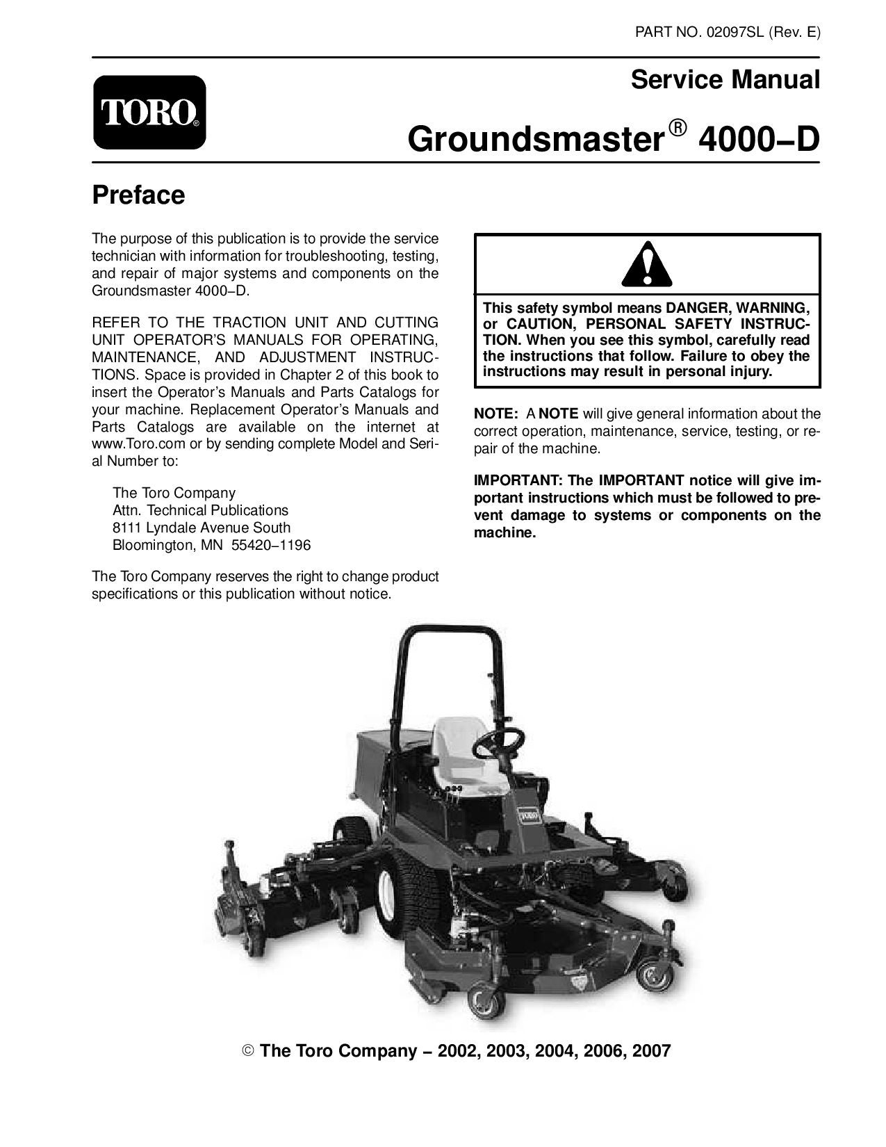 hight resolution of 02097sl pdf groundsmaster 4000 d model 30410 rev e dec 2007 by negimachi negimachi issuu