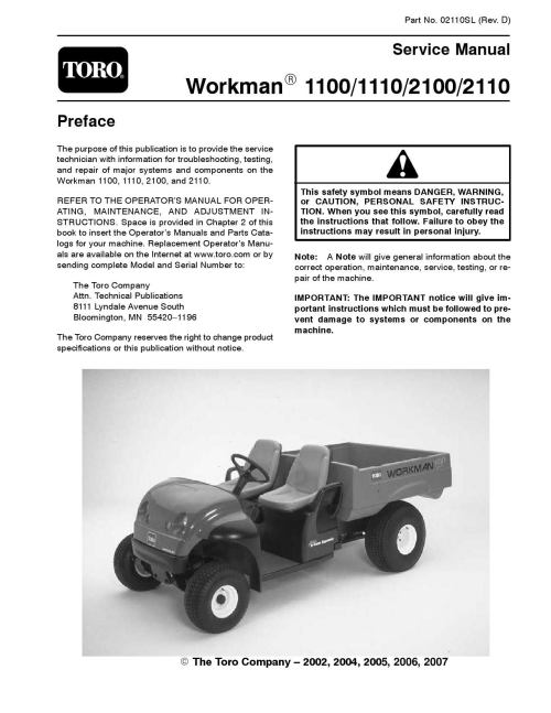 small resolution of 02110sl pdf workman 1100 1110 2100 2110 rev d aug 2007 by rh issuu com toro lawn mower wiring diagram toro riding mower wiring diagrams