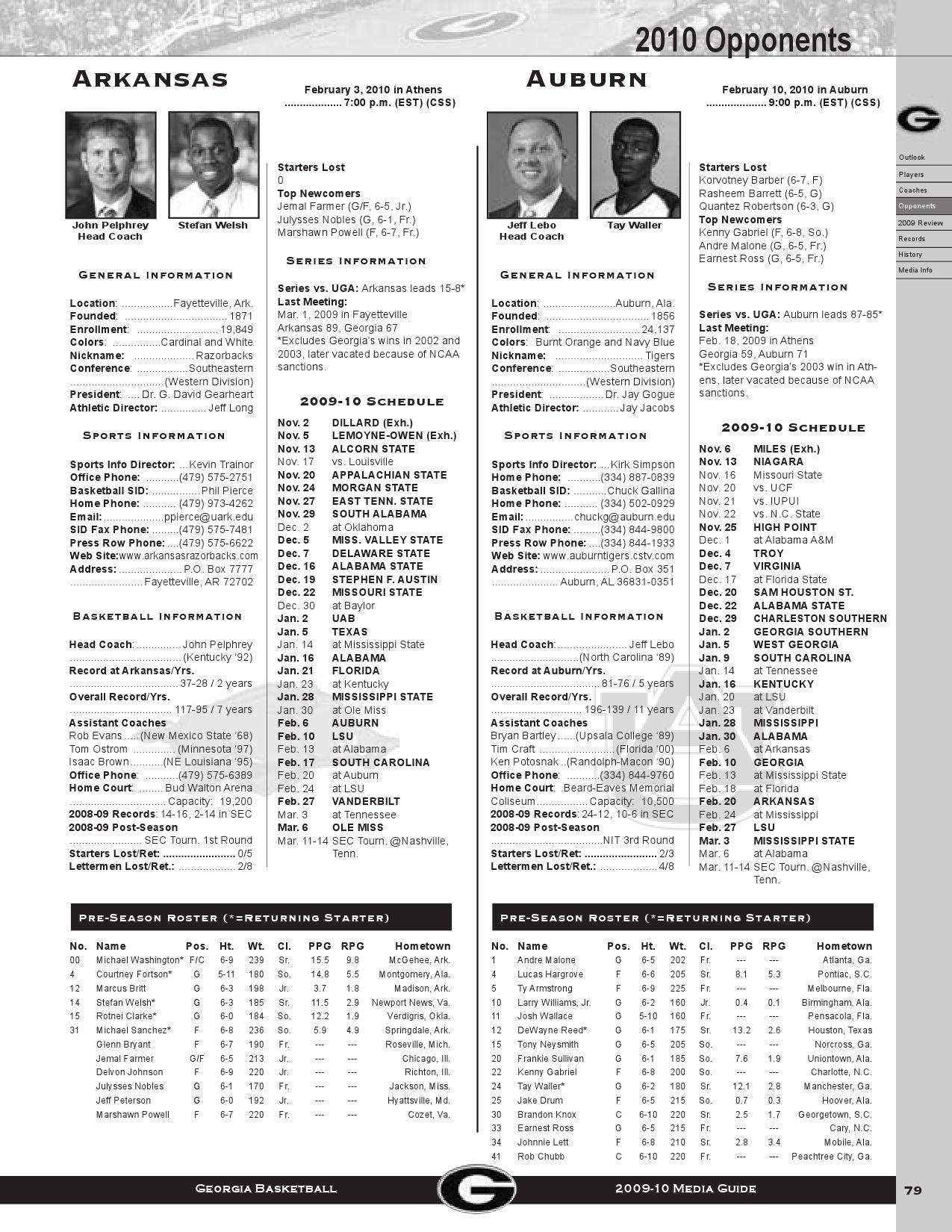 2010 Georgia Men's Basketball Media Guide by Georgia