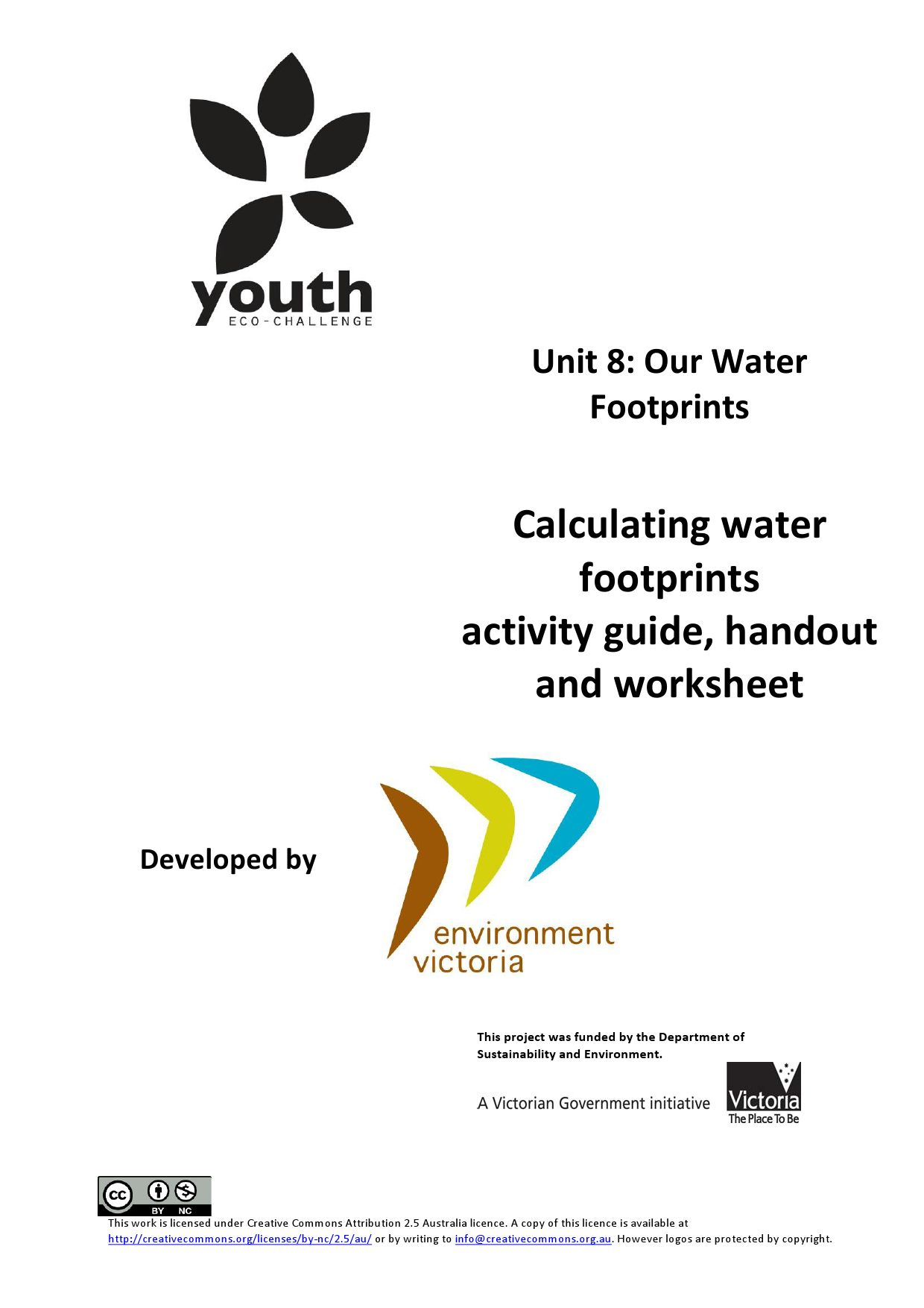 VCAL: unit 8 calculating water footprints activity guide
