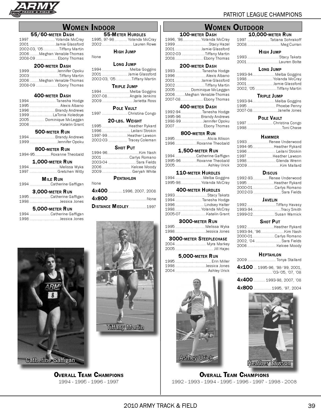 2010 Army Track & Field Guide by Army West Point Athletics