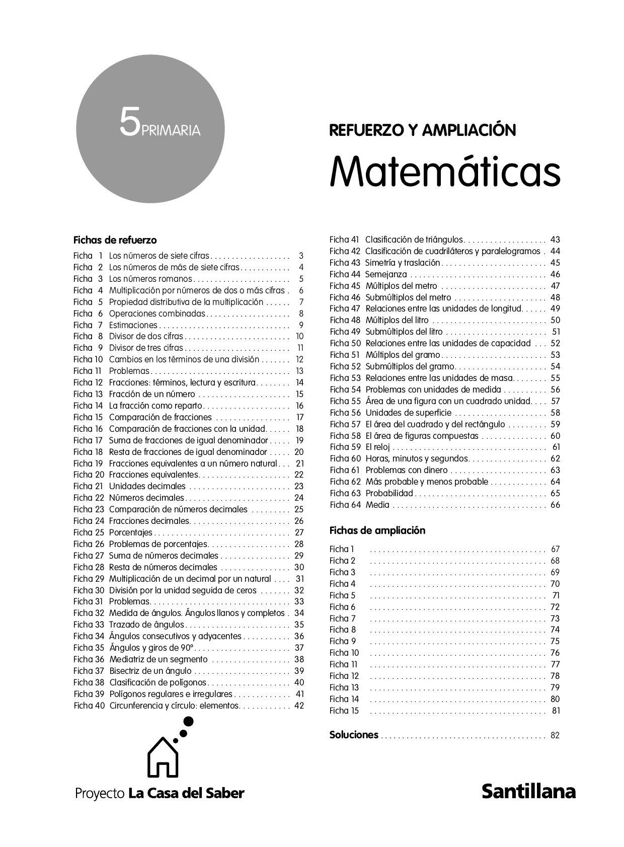 Actividades de refuerzo de matematicas quinto by Juan R