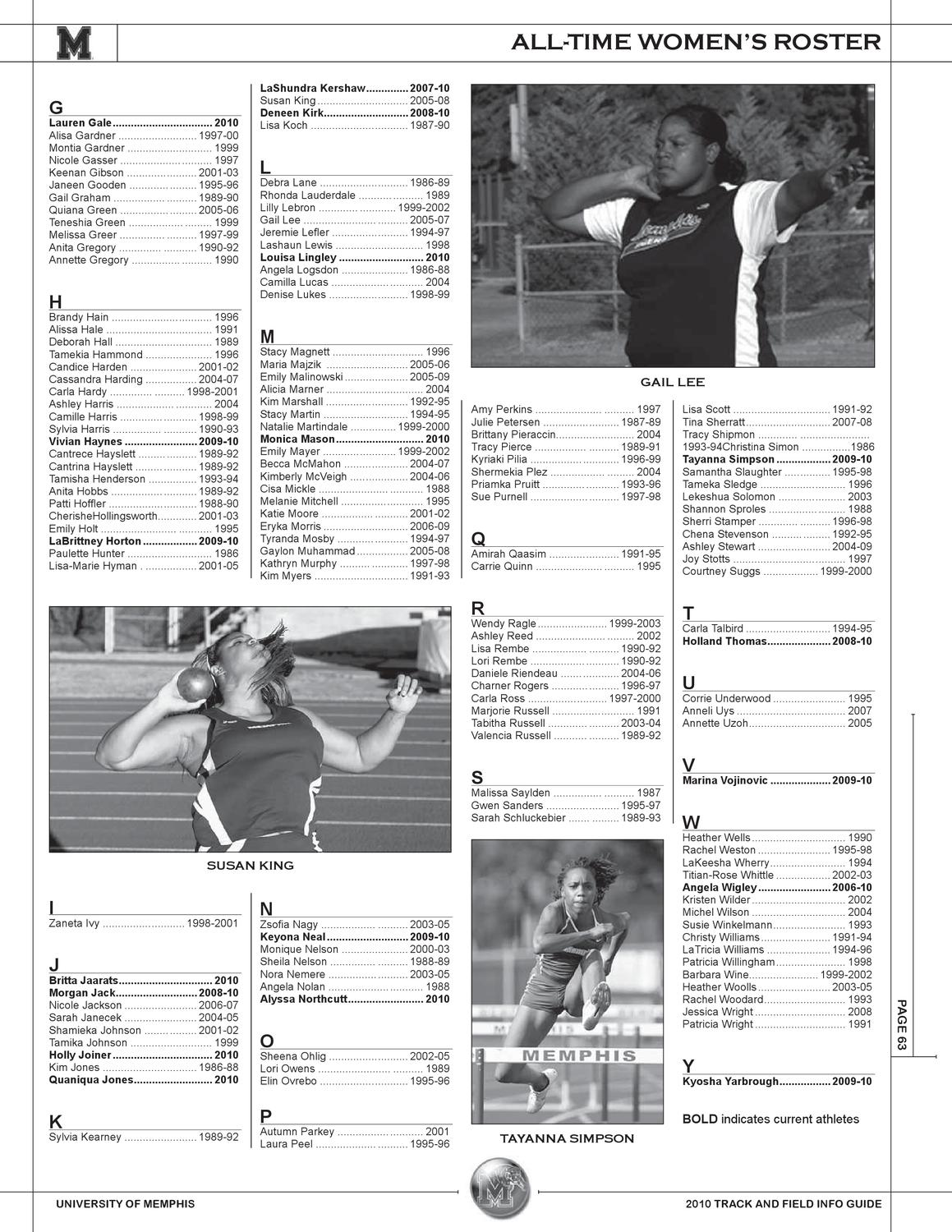 2010 Memphis Track and Field Information Guide by
