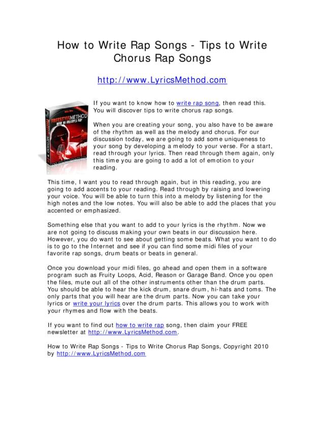 How to Write Rap Songs - Tips to Write Chorus Rap Songs by Mike