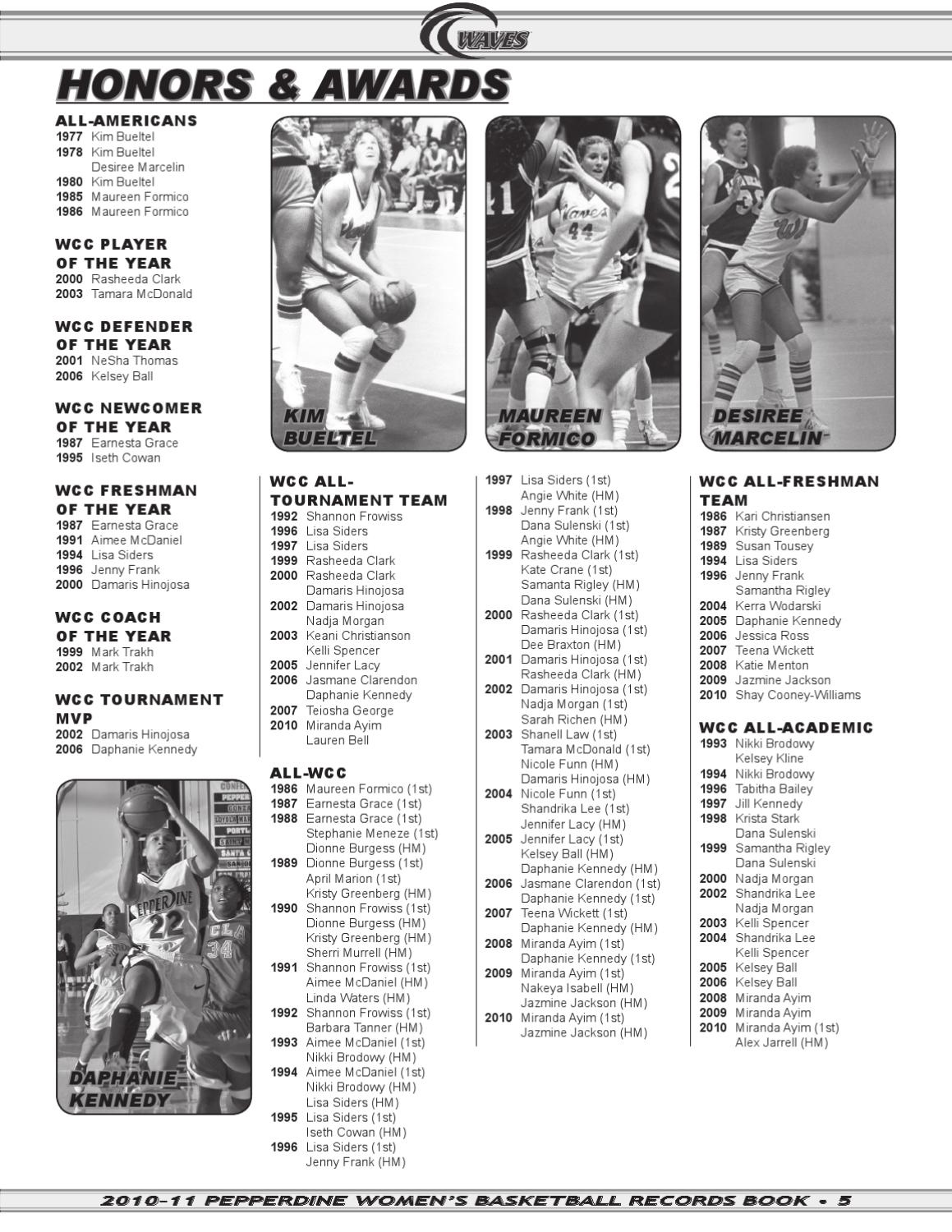 2010-11 Pepperdine Women's Basketball Records Book by