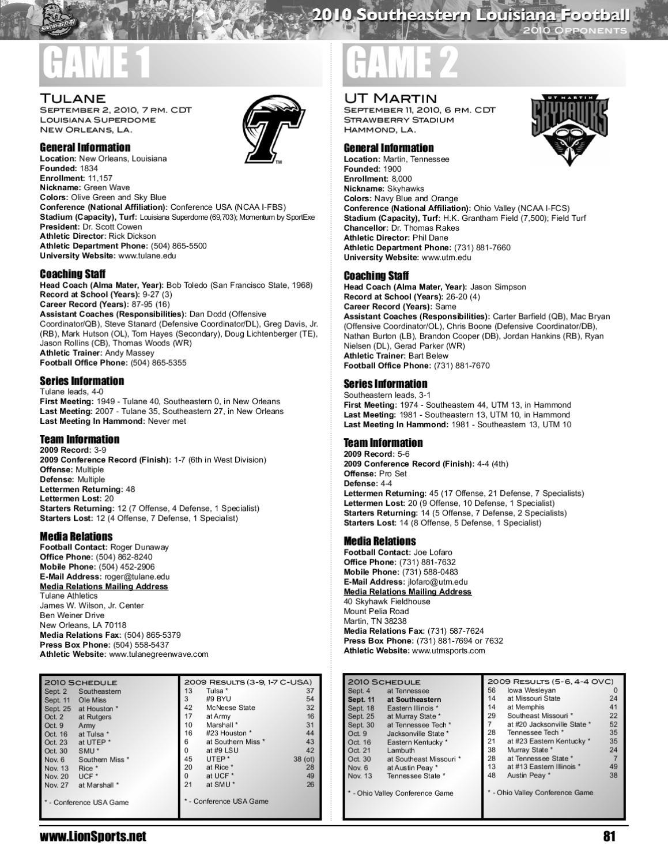 2010 Southeastern Louisiana Football Media Guide by