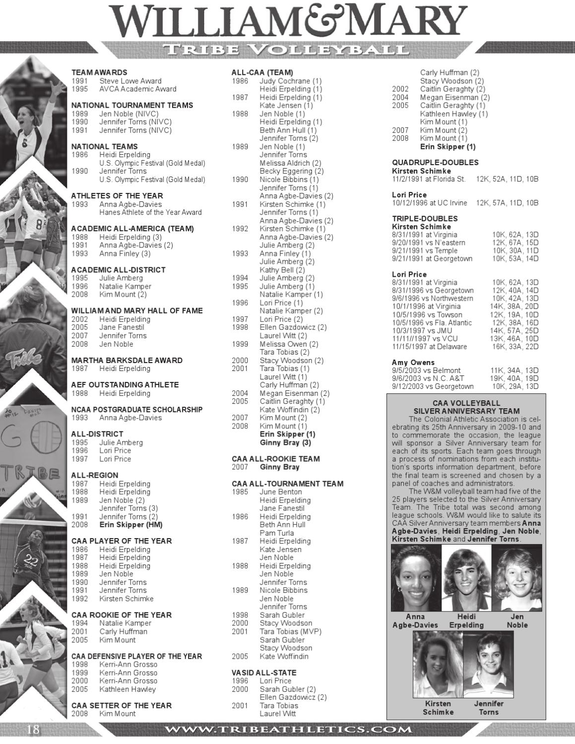2009 Tribe Volleyball Media Guide by College of William