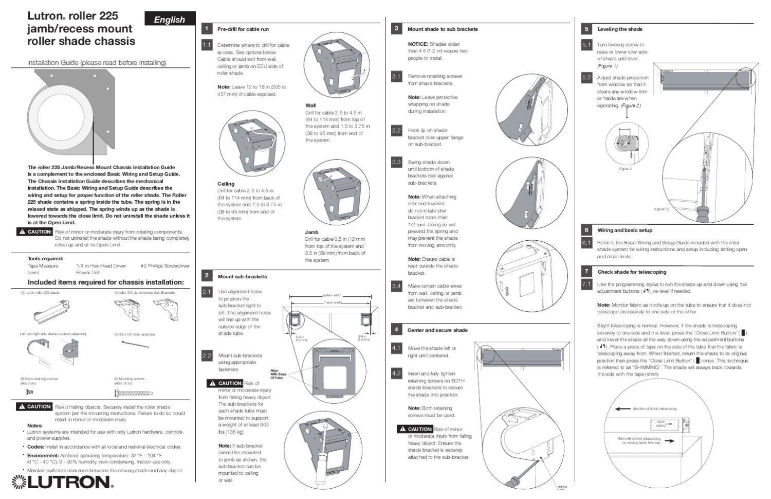 Recess Mount Roller Shade Chassis Installation Guide by