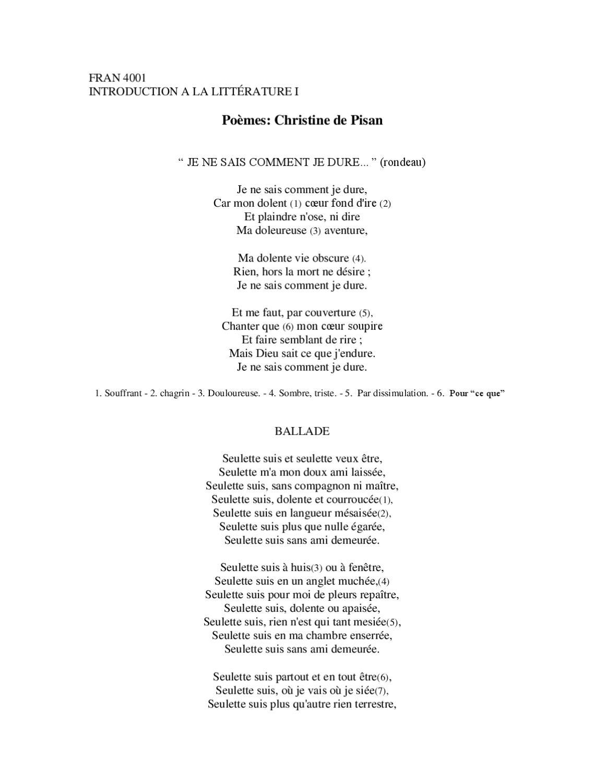 Je Ne Sais Comment Je Dure : comment, Poèmes, Christine, Pisan, Annie, Beatty, Issuu