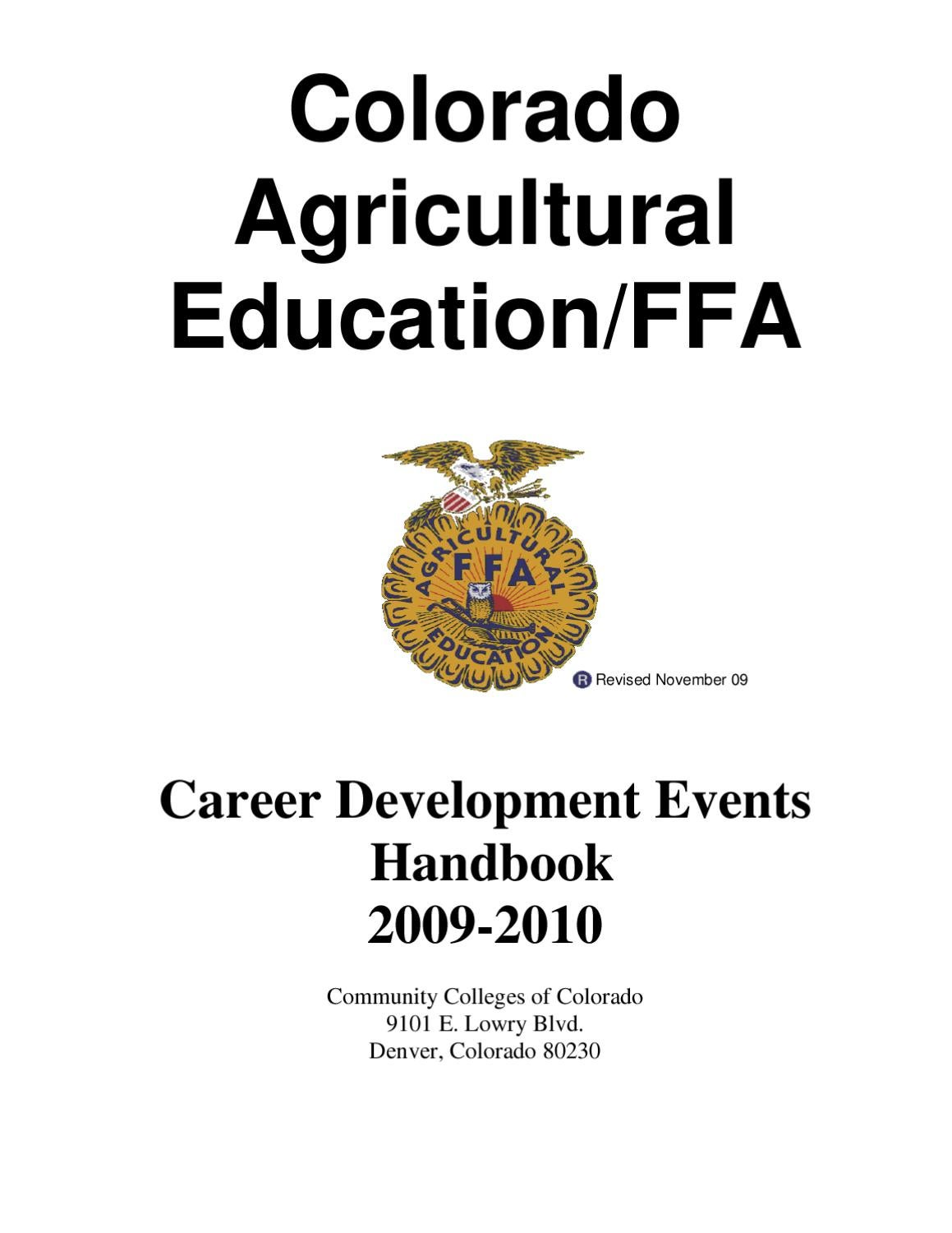 Colorado Agricultural Education / FFA CDE Handbook, 2009