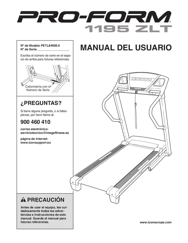 Manual Cinta de correr Proform 1195 ZLT by Fitnessvirtual