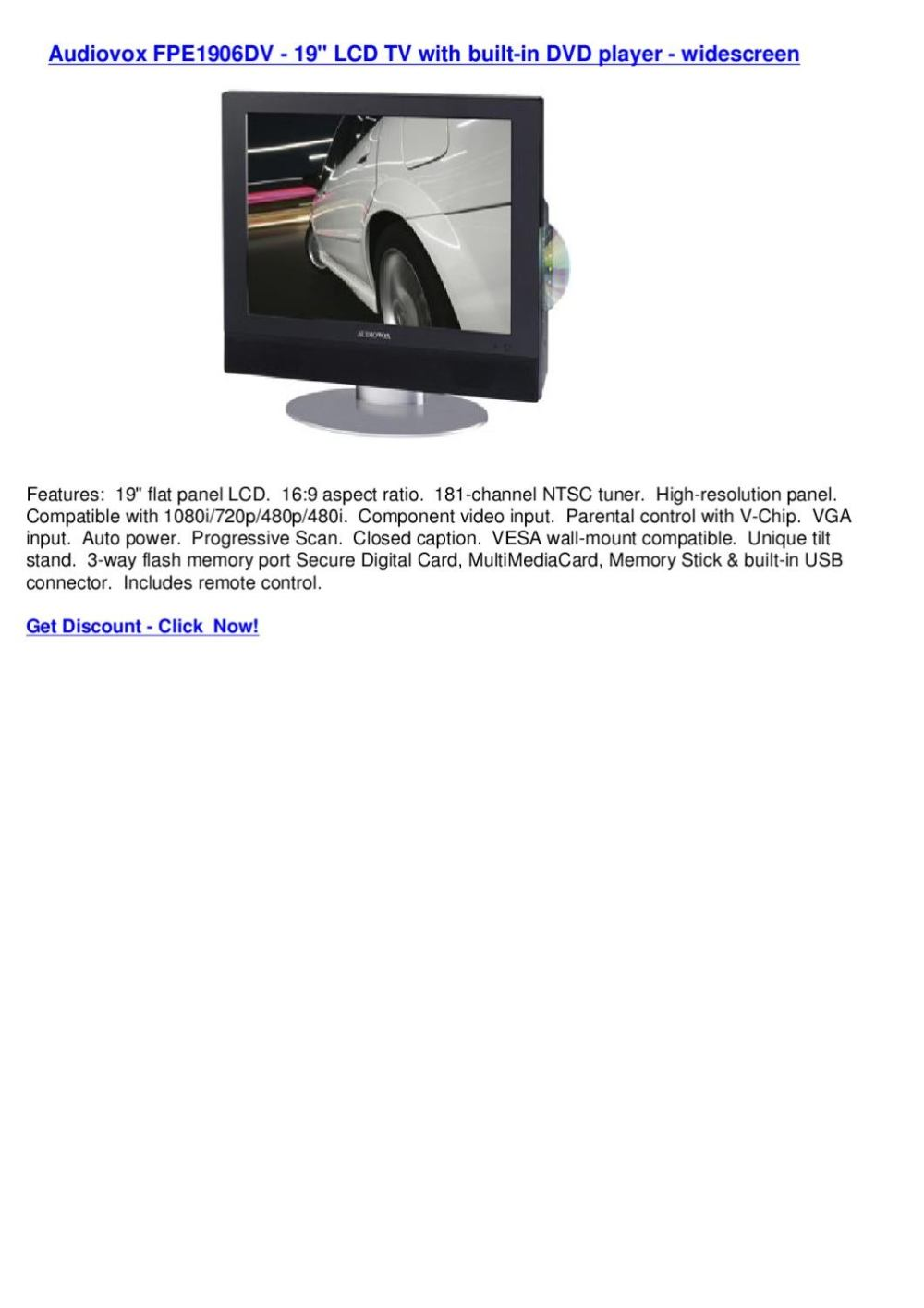 medium resolution of audiovox fpe1906dv 19 lcd tv with built in dvd player widescreen