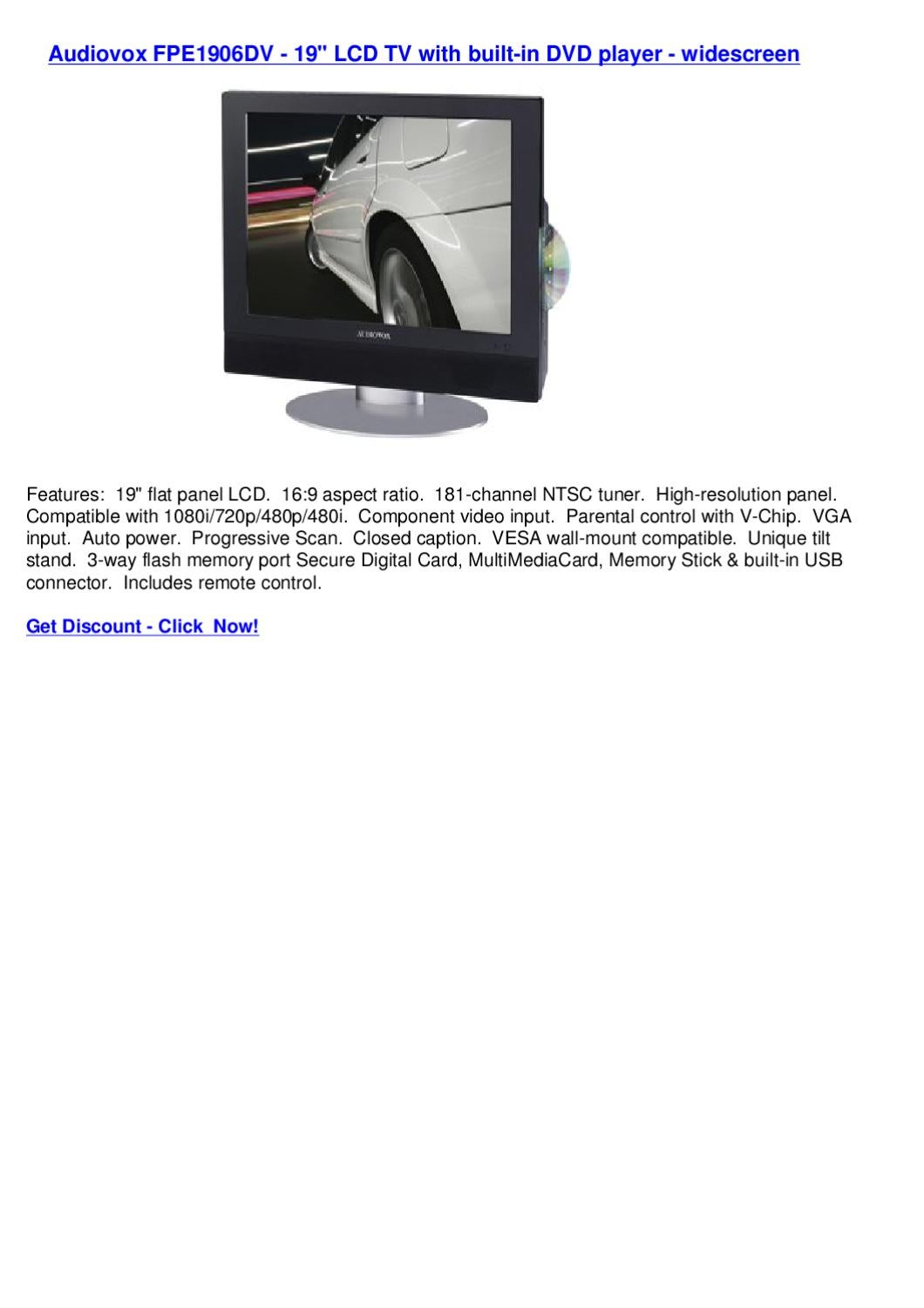 hight resolution of audiovox fpe1906dv 19 lcd tv with built in dvd player widescreen