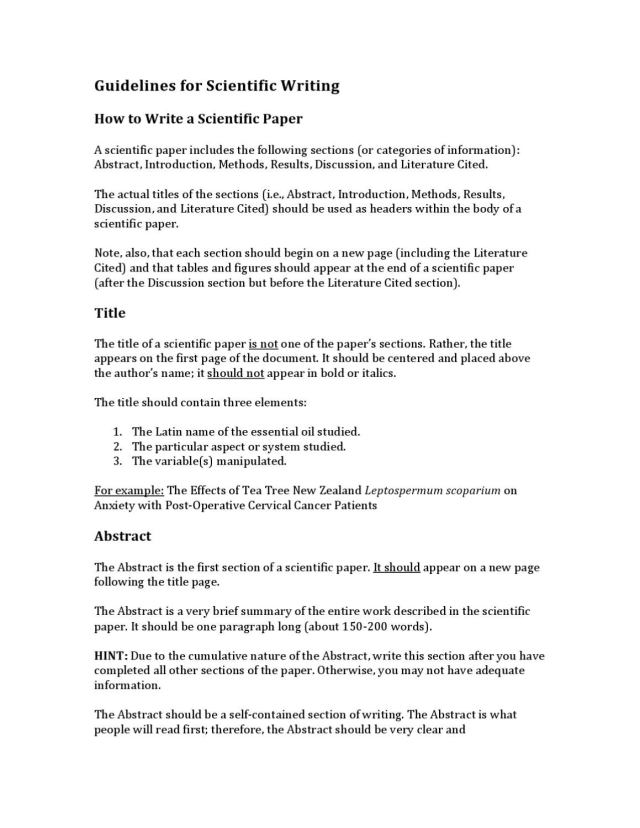 Guidelines for Scientific Writing by American College of