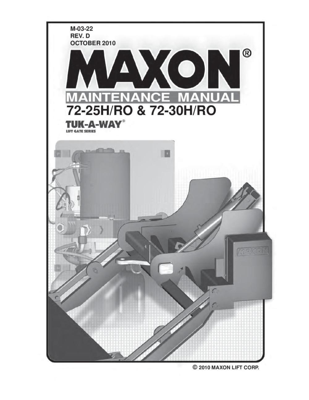 medium resolution of maxon 72 25 72 30 h ro series parts manual