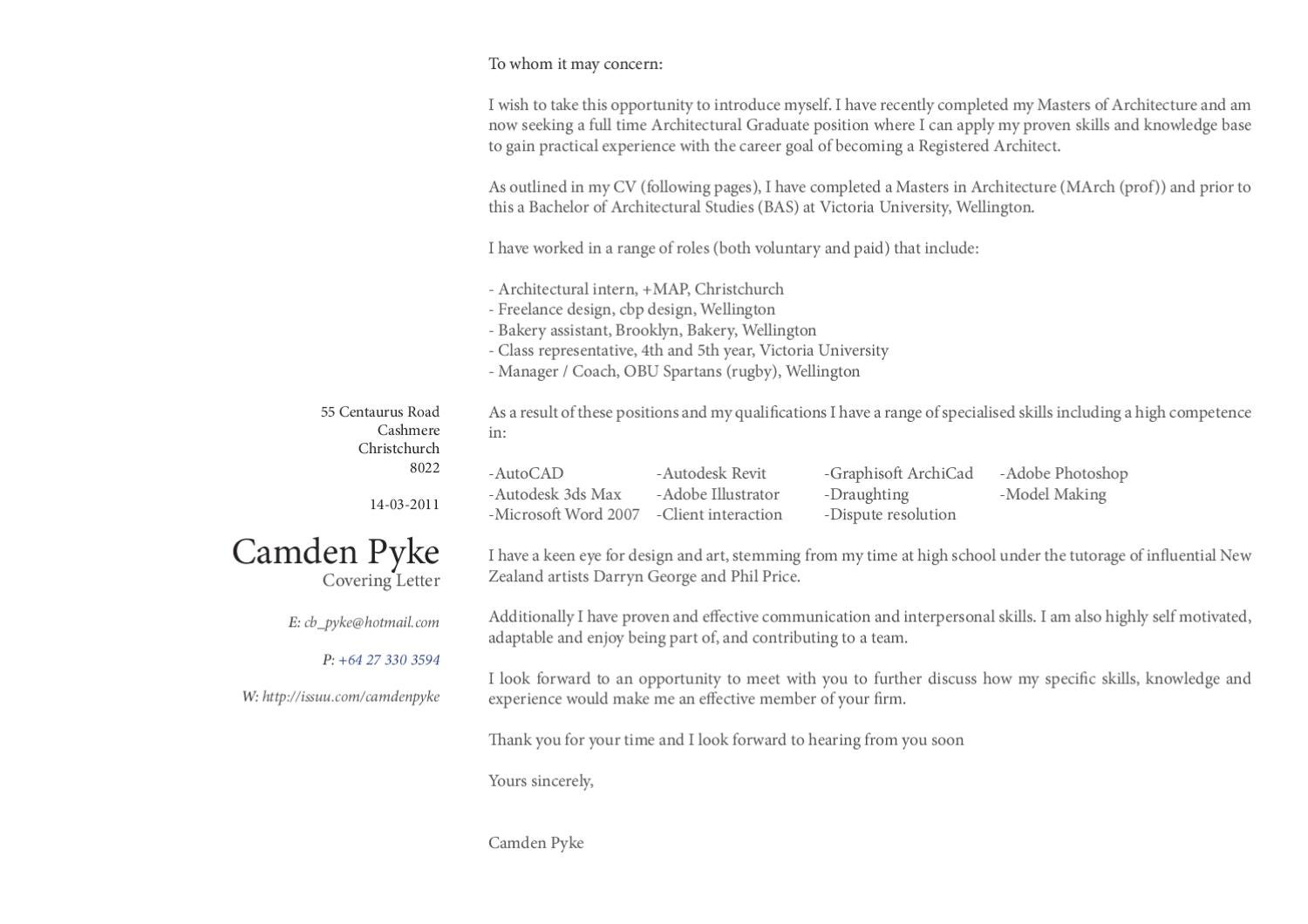 Rugby Coach Cover Letter Cover Letter And Cv By Cam Pyke Issuu
