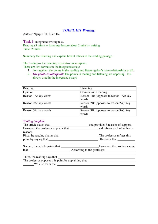 Toefl ibt writing template by ha Nguyen - Issuu