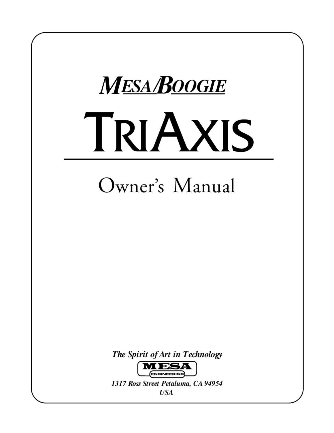 Manual Pre-Amplificador Programavel MESA BOOGIE Triaxis