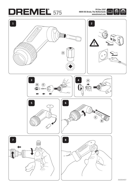 Manual Aditamento Ángulo Recto Dremel / Acoplamento de