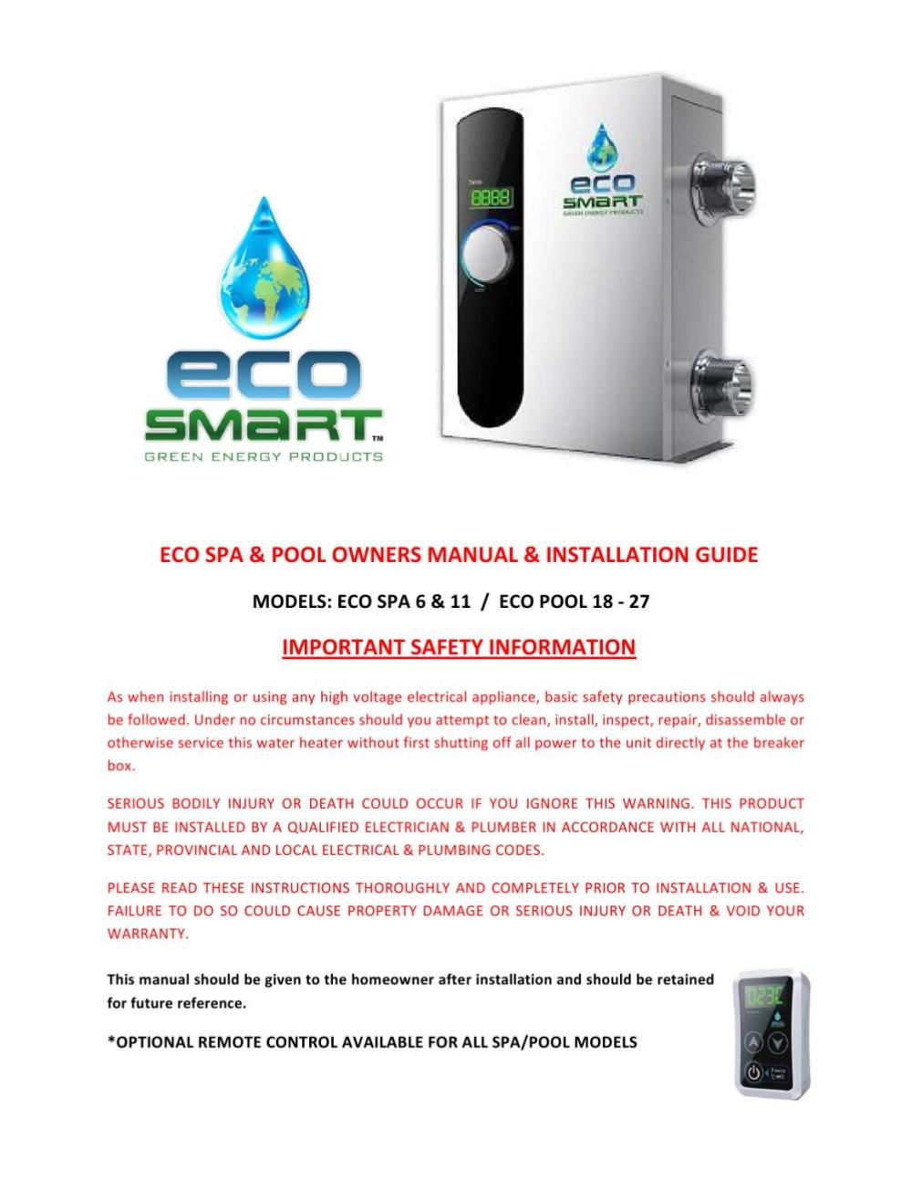 medium resolution of manual de instalacion calentadores de agua el ctricos eco spa linea ecosmart by h2o tek s a de c v issuu