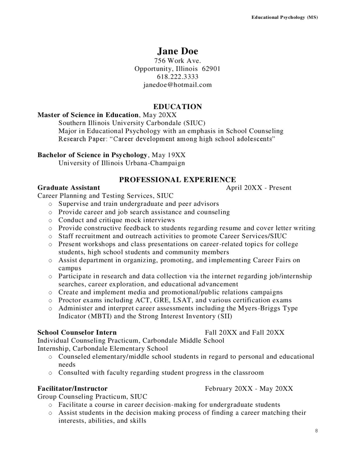 Uiuc Resume Siu Resume Sample By Southern Illinois University