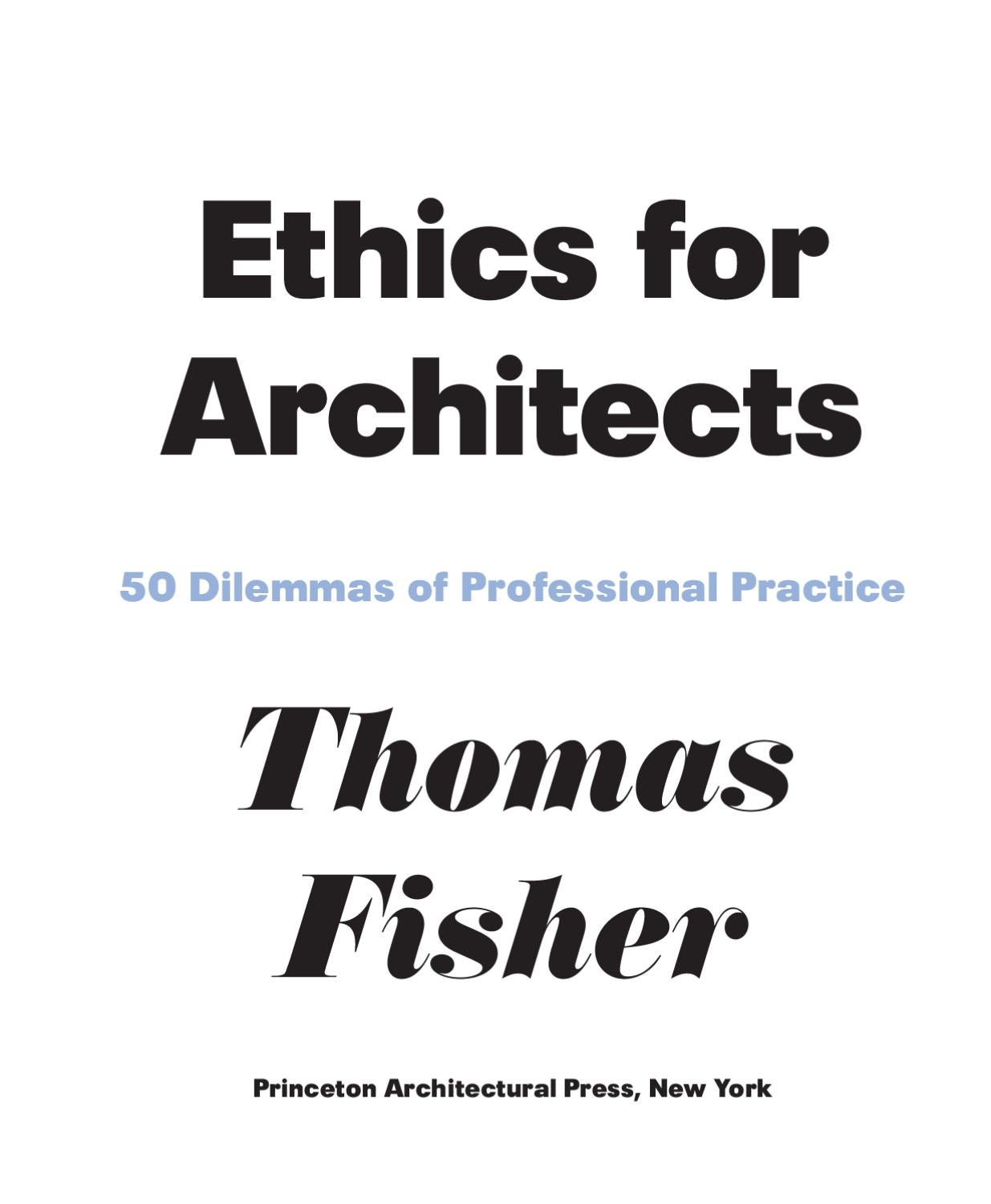 Ethics for Architects: 50 Dilemmas of Professional