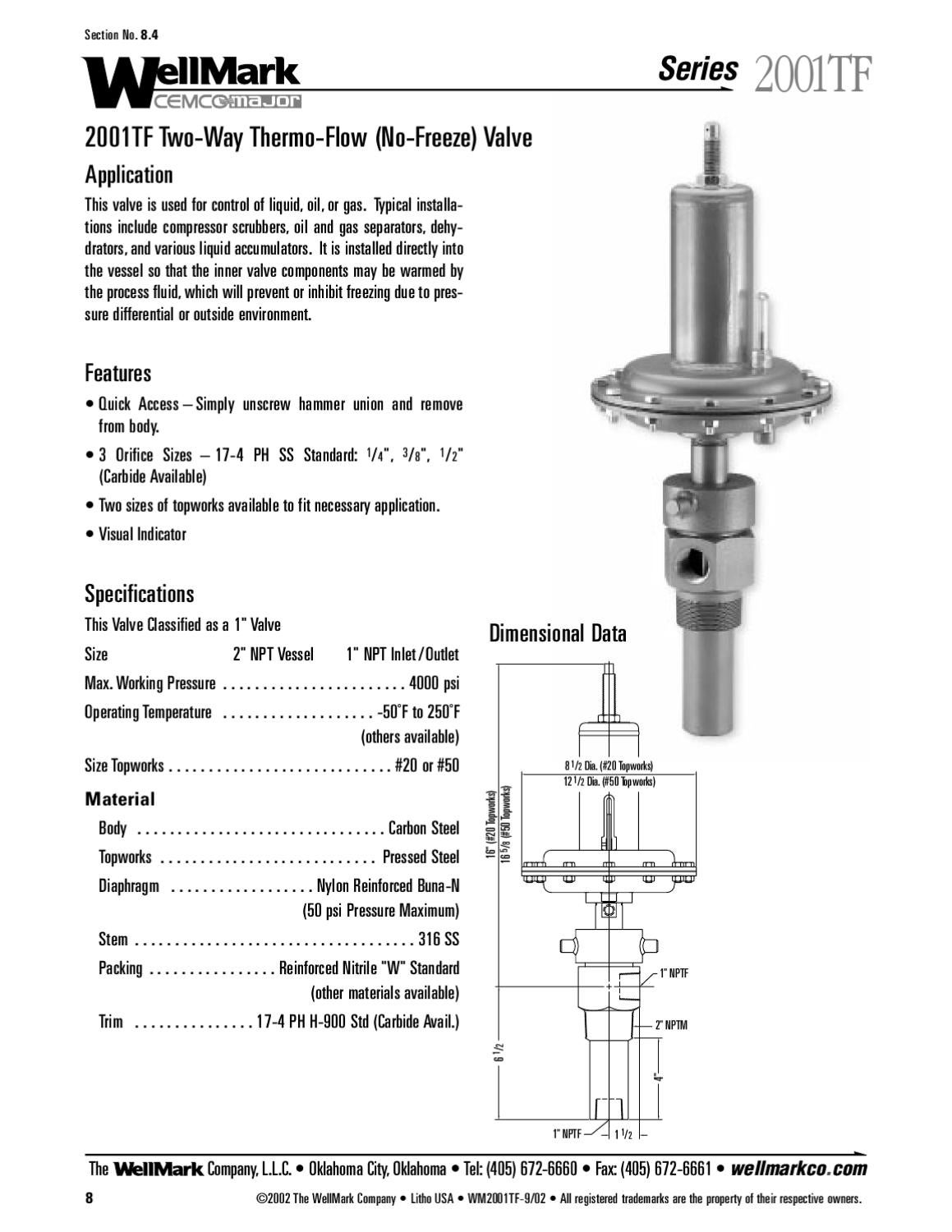 2001TF Valve Specification, Order Code & Parts Manual by
