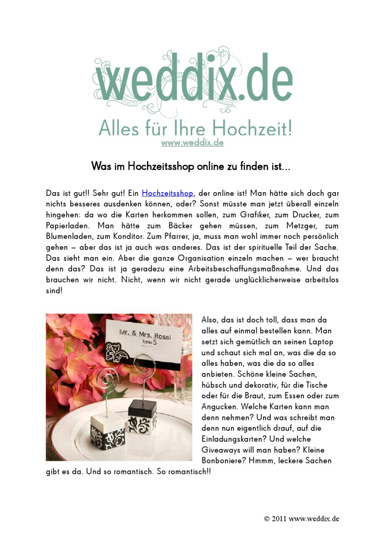 Was im Hochzeitsshop online zu finden ist by Elena Rongen