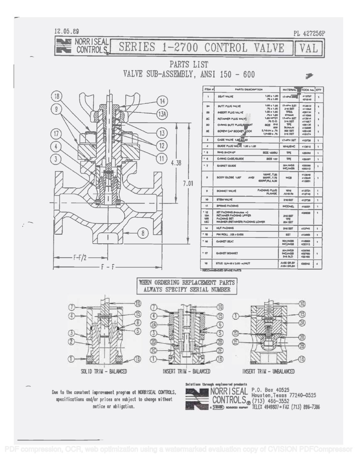 2700 Parts list & Schematic by RMC Process Controls