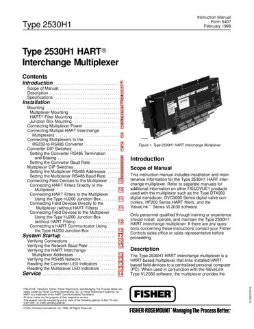 2530H1 Multiplexer Instruction Manual by RMC Process