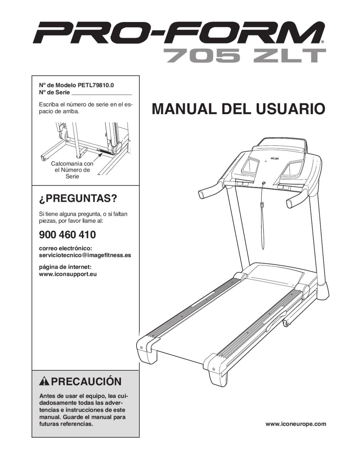 Manual Instrucciones Cinta de correr Proform 705 by