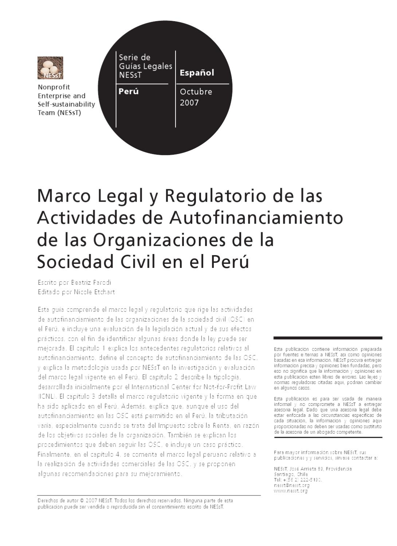 Marco Legal de las Actividades de Autofinanciamiento de