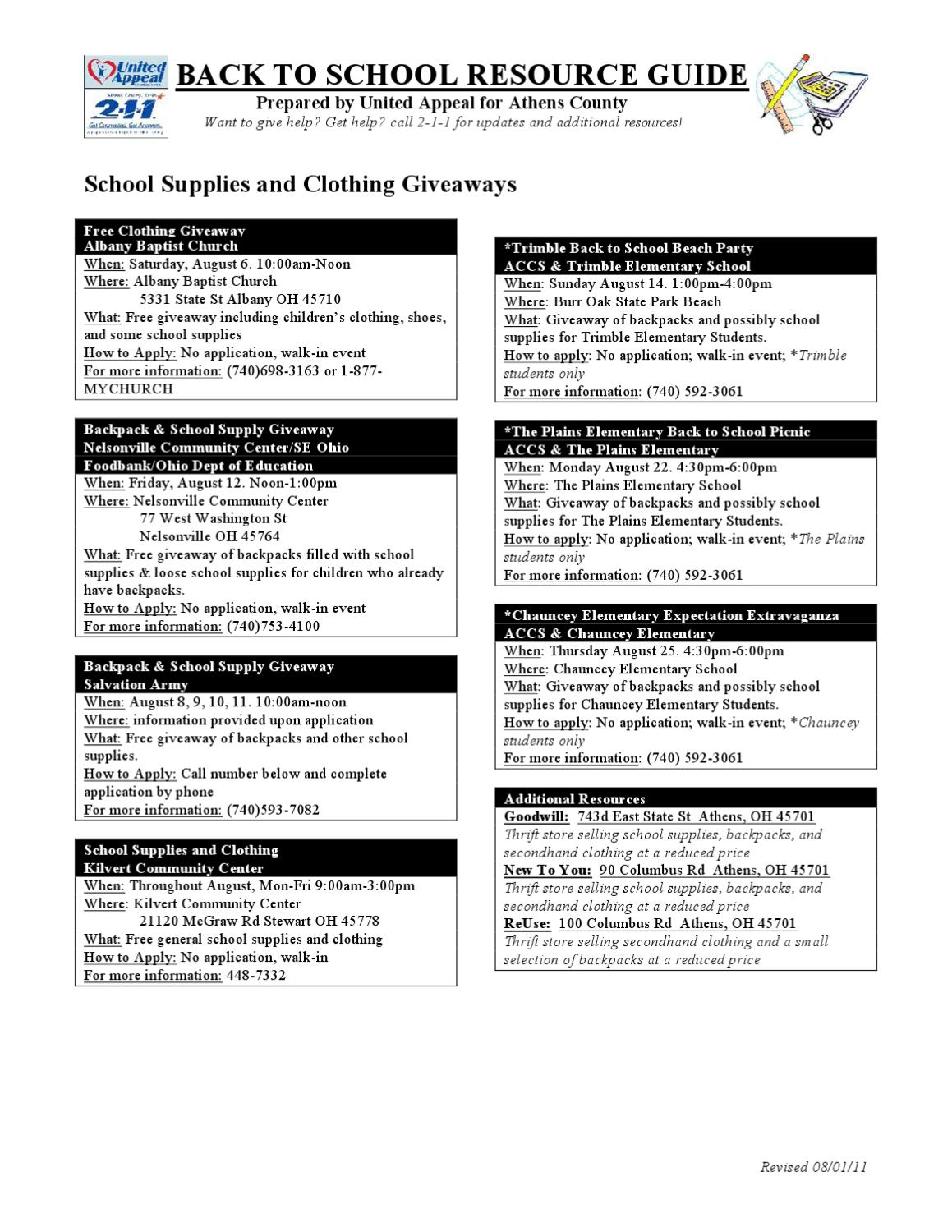 Athens County Back to School Resource Guide by Jessie