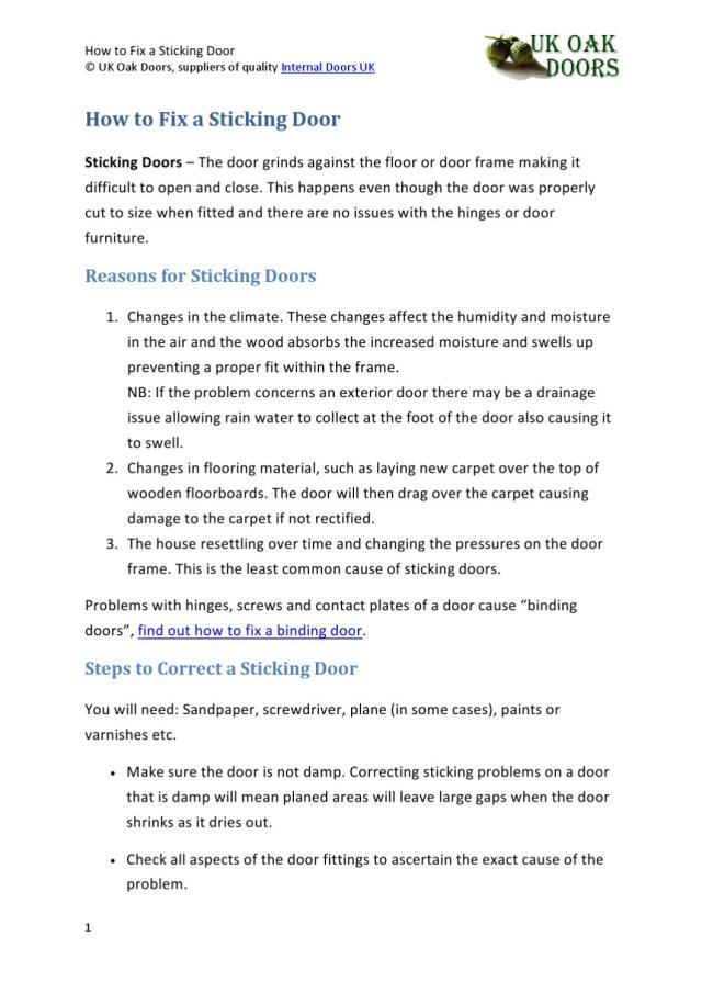How to Fix a Sticking Door by UK Oak Doors - issuu