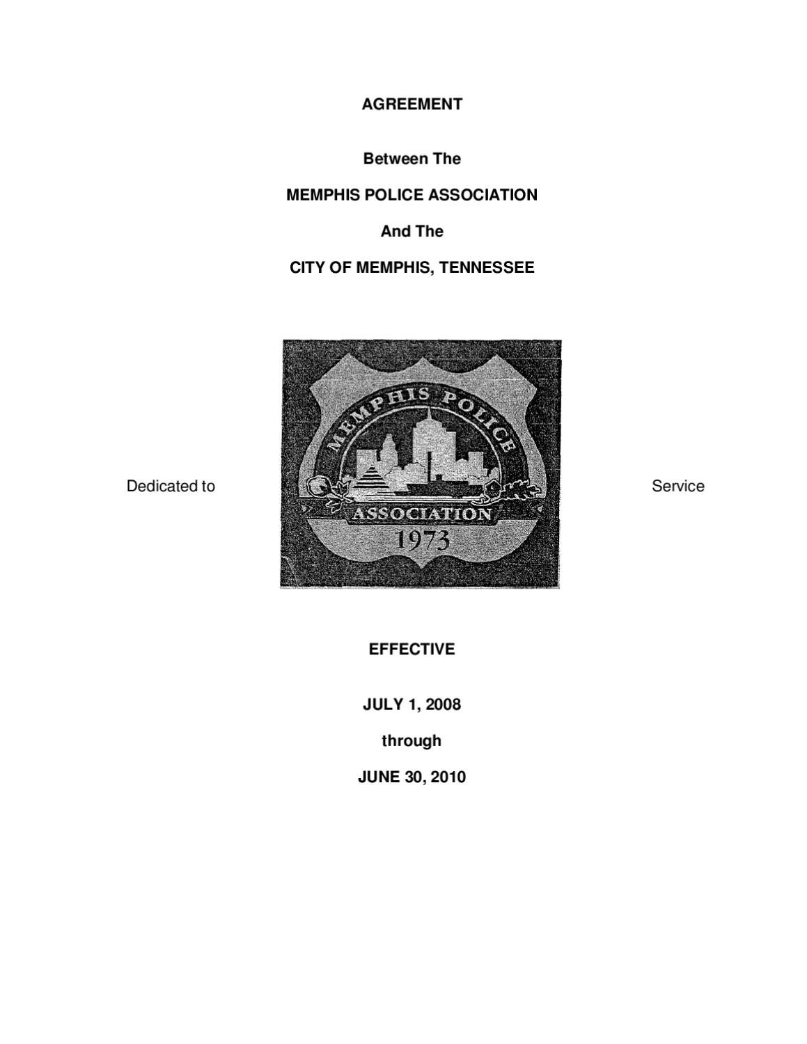 Memphis Police Union Contract by Criminal Justice Policy